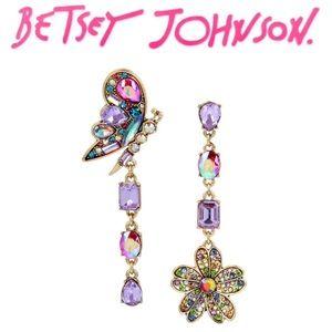 Betsey Johnson Blooming Mismatch Drop Earrings.